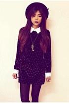 black platform luluscom boots - black Sheinsidecom dress - black Romwecom hat