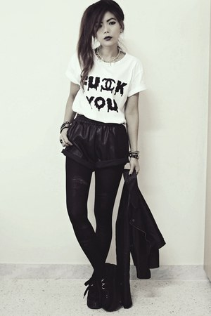black creepers choiescom shoes - black leather Sheinsidecom shorts