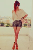 dark brown romwe shorts - nude becca striped ClubCouture sweater