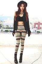 gold nairobi blackmilkclothing leggings - black Romwecom hat