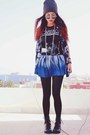 Black-round-romwe-glasses-blue-romwe-skirt