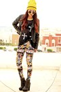 Black-leather-sheinside-jacket-yellow-kukulkan-lovelysally-leggings