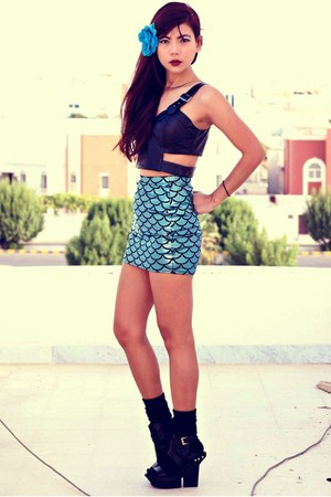 teal mermaid Blackmilkclothingcom skirt - black Romwecom top