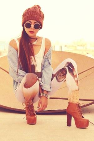 brown litas boots - periwinkle denim Gap jacket - brown romwe leggings