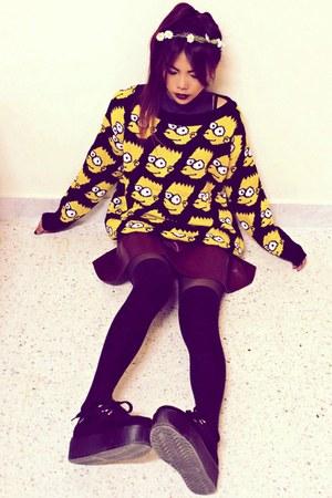 yellow simpson Sheinsidecom sweater - black creepers choiescom shoes