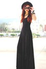 Black-burned-velvet-blackmilkclothing-dress-black-wide-brim-oasap-hat