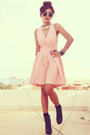 pink ClubCouture dress - black Forever 21 boots - black romwe bracelet