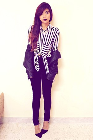 white stripes choiescom shirt - black leather Sheinsidecom jacket