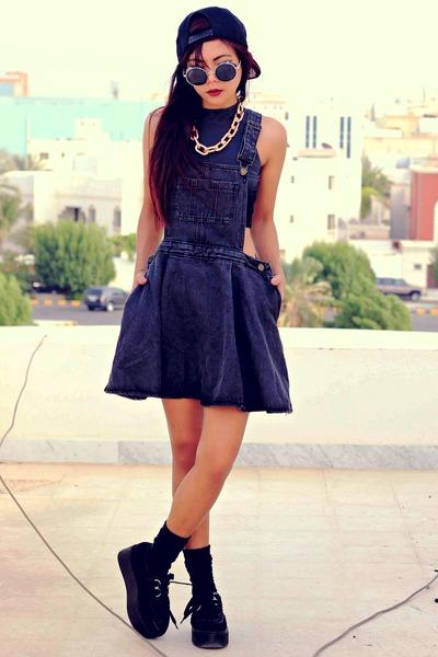 black creepers choiescom shoes - black denim pinafore Sheinsidecom dress