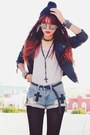 Black-slim-sheinside-jacket-sky-blue-ripped-denim-sheinside-shorts