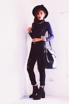 black ankle wholesale7net boots - black studded Romwecom bag