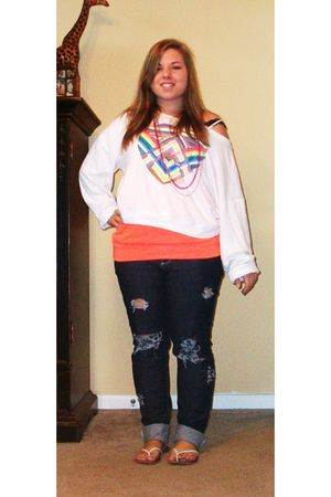 blue Pac Sun jeans - white Victorias Secret sweater - orange Charlotte Russe top