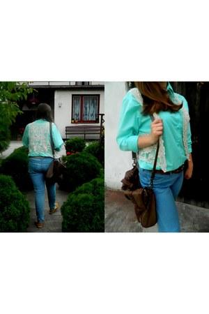 aquamarine SH blouse - ivory SH vest