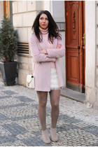 light pink warehouse coat - off white H&M skirt - light pink vintage jumper