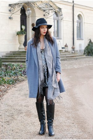 charcoal gray Zara dress - heather gray DIY coat - black hm hat