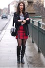 Black-next-boots-black-zara-bag-red-diy-skirt