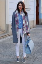 sky blue Topshop scarf - heather gray DIY coat - off white F&F jeans