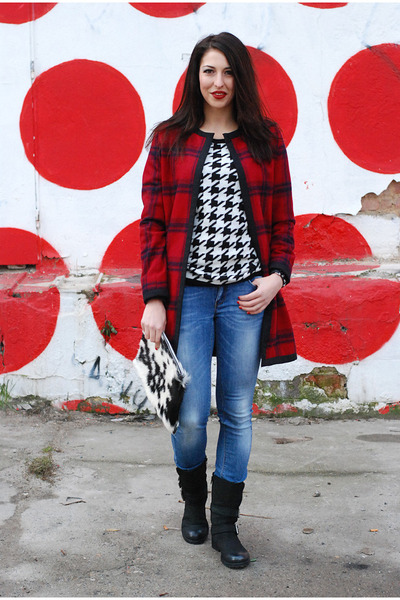 ruby red DIY coat - black Bata boots - off white DIY bag