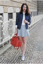 navy hm jacket - red Topshop bag - DIY skirt