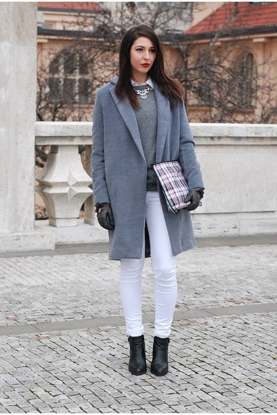 heather gray DIY coat - black reserved boots - white DIY bag