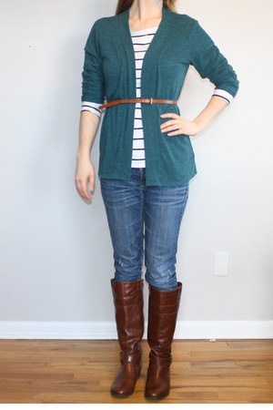 navy stripe top - cherry brown boots - teal cardigan