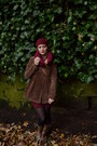Brown-animal-print-unknown-brand-boots-maroon-h-m-dress-maroon-vintage-hat
