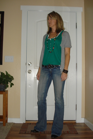 Old Navy shirt - Old Navy shirt - Buckle belt - BKE jeans - Forever 21 bracelet