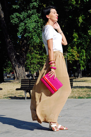 white Zara shirt - hot pink Mistral bag - nude handmade skirt