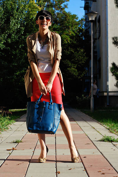 camel Sheinside coat - white Mango shirt - navy OASAP bag - coral handmade skirt