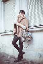 light brown Sheinside cape - black Momenti boots - beige Sheinside sweater