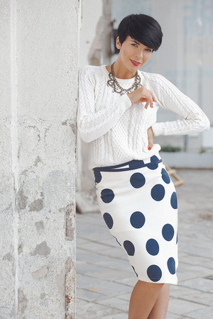 white lindex sweater - navy lindex skirt
