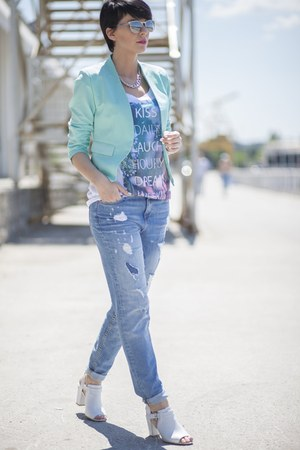 blue New Yorker jeans - turquoise blue New Yorker blazer