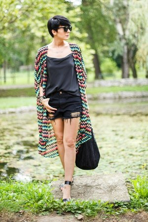 black lindex shirt - black New Yorker bag - black Sheinside shorts