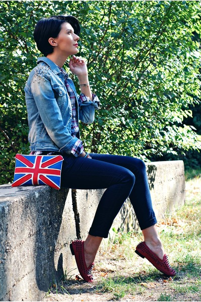red Cortefiel shirt - blue Just Wish It jacket - ruby red OASAP flats