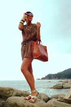 tawny Parfois bag - bronze pieces dress - cream killah sandals
