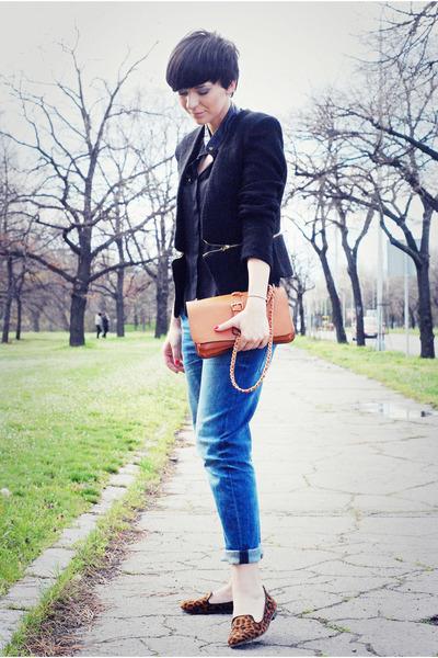 black Sheinside blazer - navy Zara jeans - tawny OASAP bag