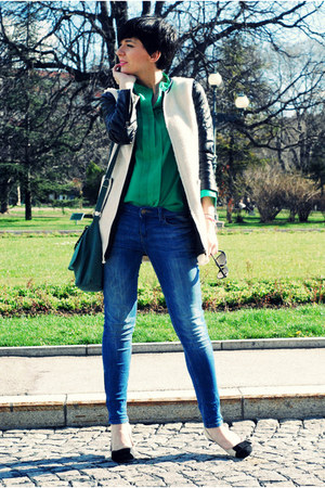 Sheinside coat - Zara jeans - chicnova shirt - OASAP flats
