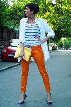 orange pull&bear pants - navy H&M shirt - light yellow Tasnarija bag