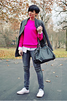 dark gray Jagger jeans - charcoal gray By Zoe coat - hot pink no brand sweater