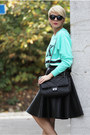 Black-woakao-bag-aquamarine-victorias-secret-sweater-black-romwe-sunglasses