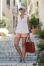 White-sheinside-shirt-brown-parfois-bag-salmon-mango-shorts