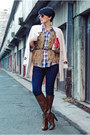 Dark-brown-stradivarius-boots-eggshell-oasap-coat-blue-cortefiel-shirt