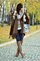 dark brown Stradivarius boots - dark brown no brand coat - camel Mango sweater