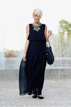 black chiffon OASAP dress - black faux leather romwe bag - black H&M flats