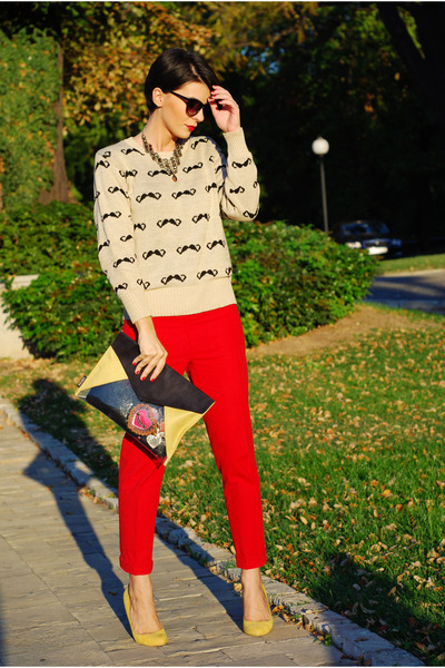 beige AX Paris sweater - black Rename bag - red custom made pants