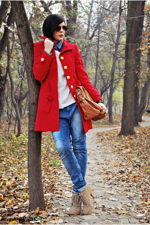 red Tally Weijl coat - tan Zara boots - blue Bershka jeans - beige H&M sweater