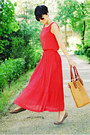 Coral-herejcom-dress-tawny-herejcom-bag-dark-brown-non-branded-flats