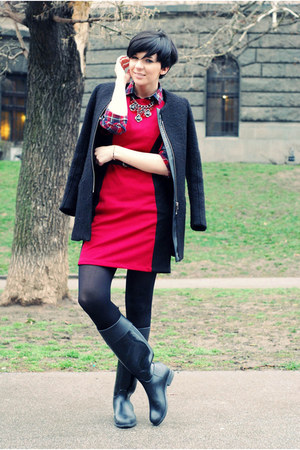 brick red Choies shirt - black US Polo boots - ruby red Sheinside dress