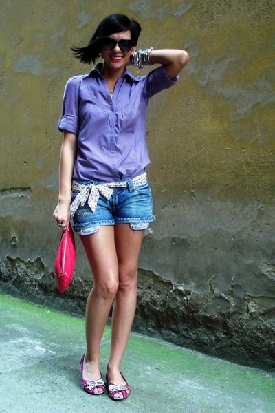 amethyst Zara shirt - ruby red Mango bag - blue Stradivarius shorts