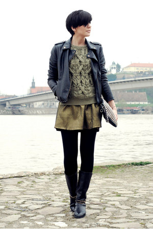 black Choies boots - black lulus jacket - olive green Zara sweater